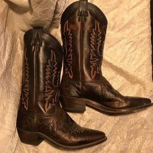 Justin Brown Leather Cowboy Boots Made In The USA